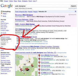 screen capture of google custom location search field on the side navigation