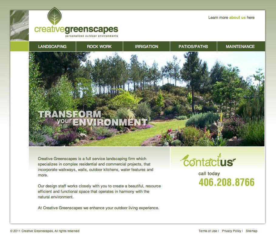 Service Company Web Design - Creative Greenscapes - Portfolio