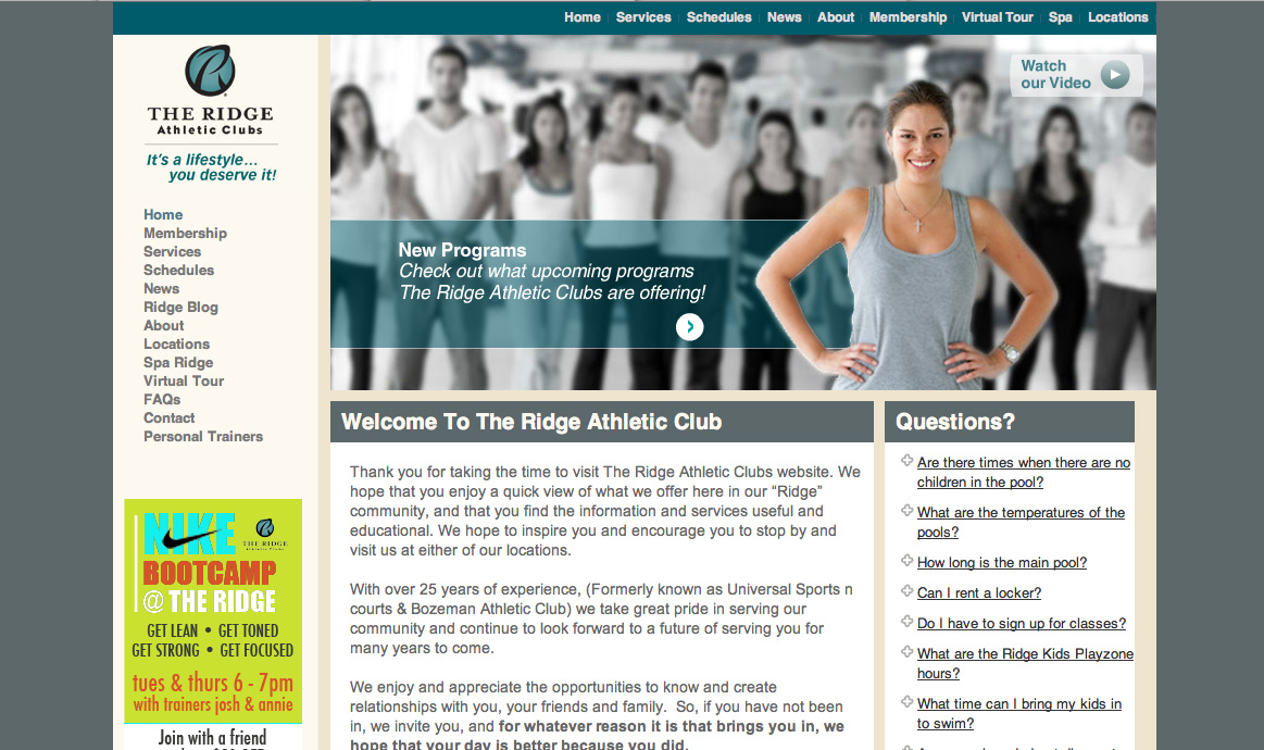Bozeman Athletic Club Web Design